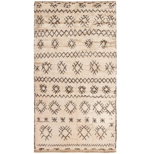 White Vintage Moroccan Wool Rug - 4′ × 7′6″ For Sale - Image 8 of 8