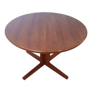 Danish Round Teak Dining Table on Split Pedestal Base For Sale
