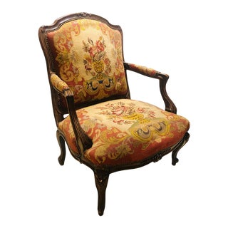19th Century Louis XV Style Armchair Bergere Petite and Gros Point Upholstery For Sale