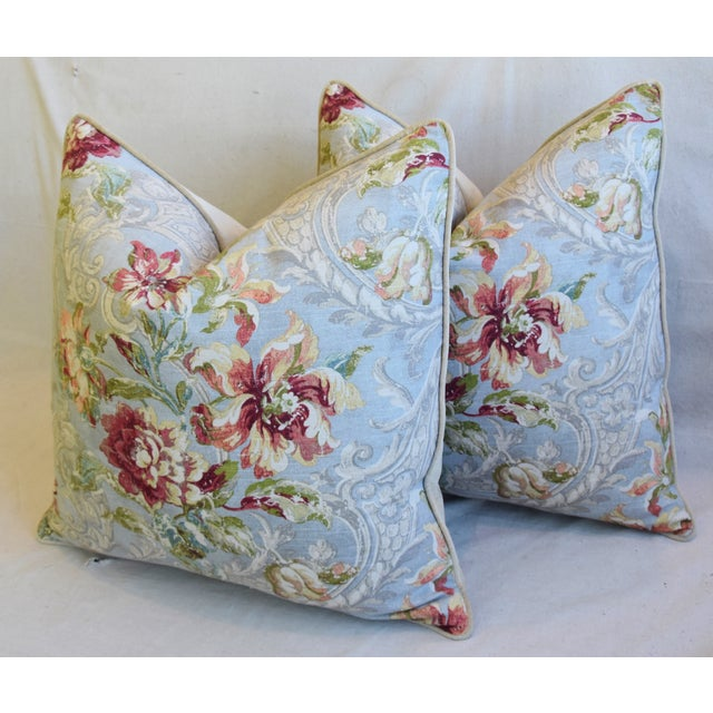 "White French Floral Linen & Velvet Feather/Down Pillows 24"" Square - Pair For Sale - Image 8 of 13"