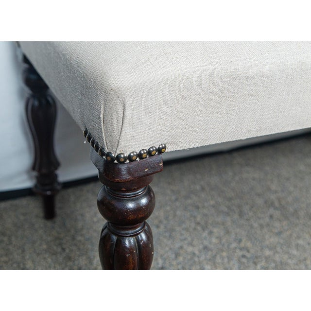 Early 20th Century Vintage English Mahogany Gray Upholstered Bench For Sale - Image 4 of 5