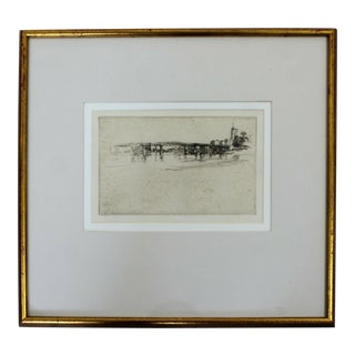 Antique 19th Century James McNeil Whistler Little Putney Etching Framed 1800s For Sale