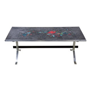 Belgian Abstract Art Tile and Chrome Coffee Table For Sale