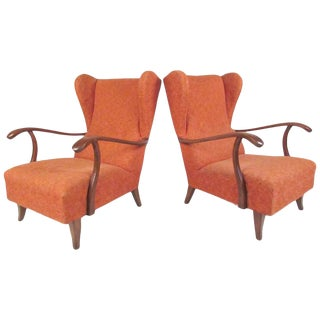 Italian Modern Wing Back Lounge Chairs After Paolo Buffa For Sale