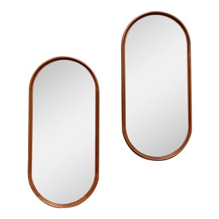 Danish Modern Teak Style Oval Wall Mirrors - a Pair