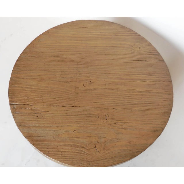 Reclaimed Wood Low Round Coffee Table by Dos Gallos Studio For Sale In Los Angeles - Image 6 of 10