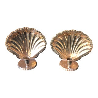 1970s Vintage Brass Shell Sconce Candle Holders - A Pair For Sale
