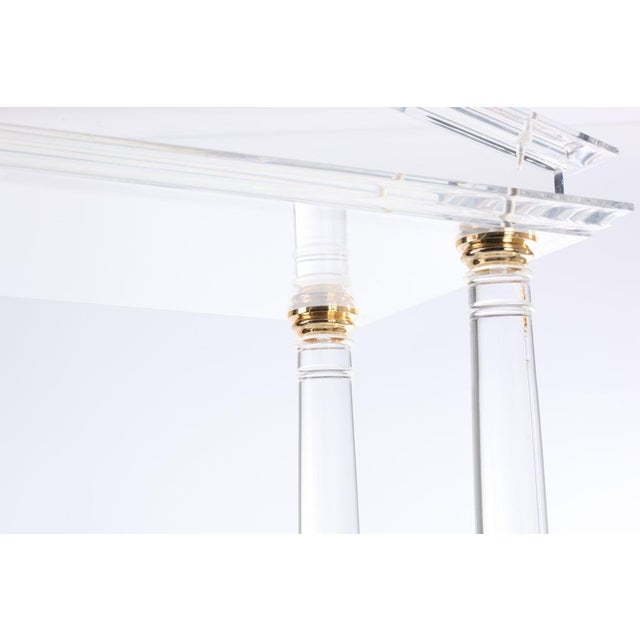 Late 20th Century Neoclassic Modern Lucite and Brass Etagere For Sale - Image 5 of 8