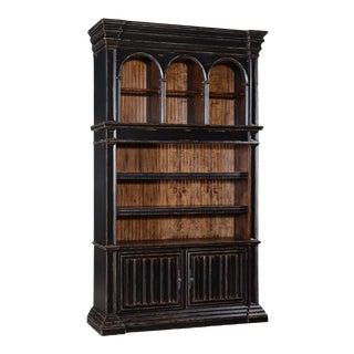 Bookcase Cathedral Antiqued Blackwash Wood Old For Sale