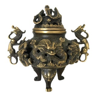 Vintage Chinese Solid Brass 'Dragon' Tripod Censer, Signed For Sale