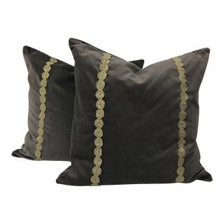 Contemporary Gray Cotton Velvet Down Pillows - A Pair