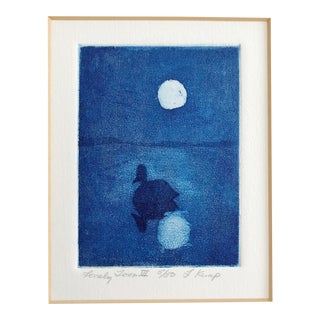 "1990s Original Etching Titled ""Lonely Loon Vi"" by Artist Flo Kemp Blue and White Duck on Moonlit Pond For Sale"