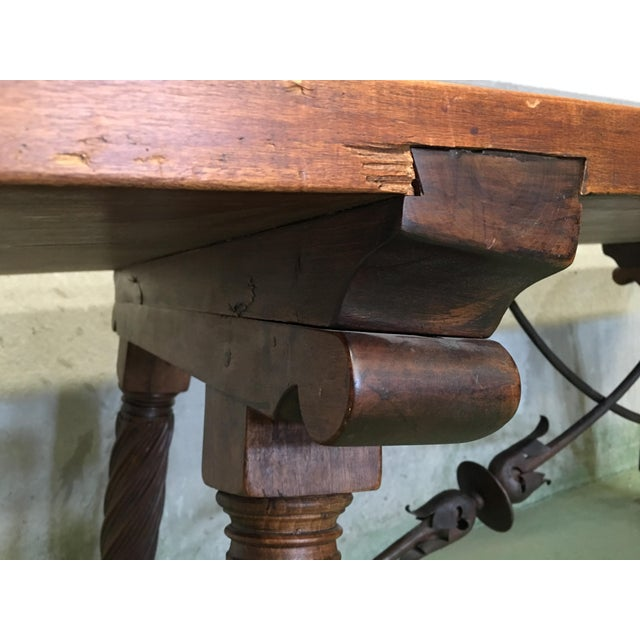 Late 18th Century 18th Spanish Refectory Desk Table With Solomonic Legs and Iron Stretcher For Sale - Image 5 of 13