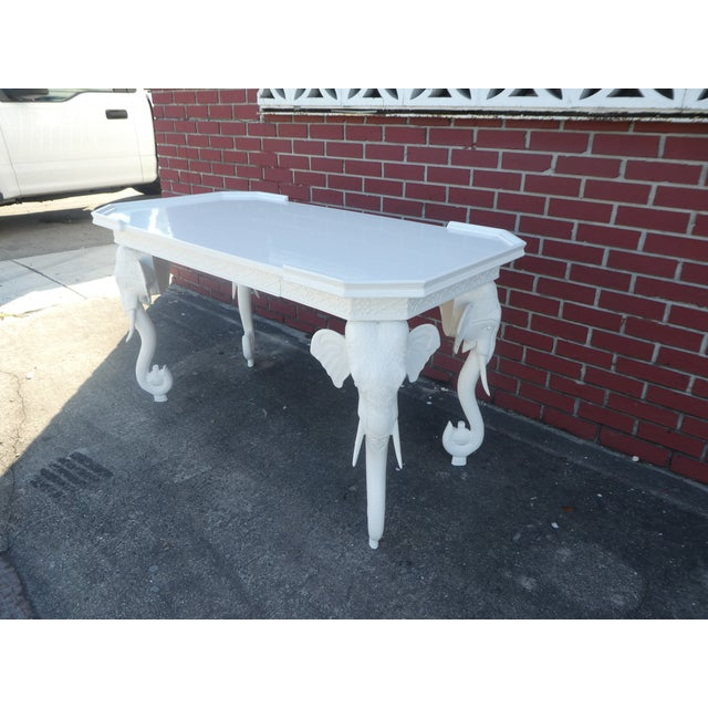 Paint 1970s Hollywood Regency Gampel Stoll White Lacquer Elephant Writing Desk For Sale - Image 7 of 13