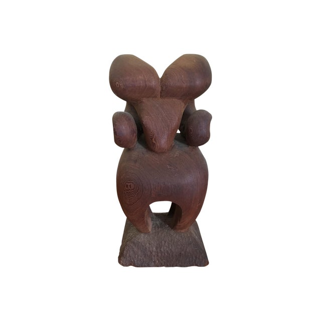 Hand Carved Wooden Ram - Image 1 of 5
