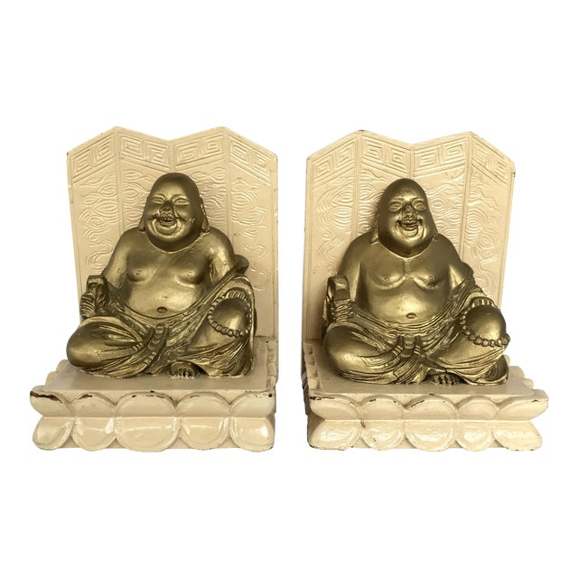 Vintage Chinese Smiling Buddha bookends - A Pair For Sale