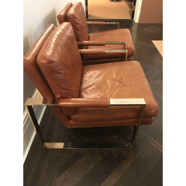 Milo Baugman by Thayer Coggin Brown Leather Chairs - a Pair - Image 3 of 6