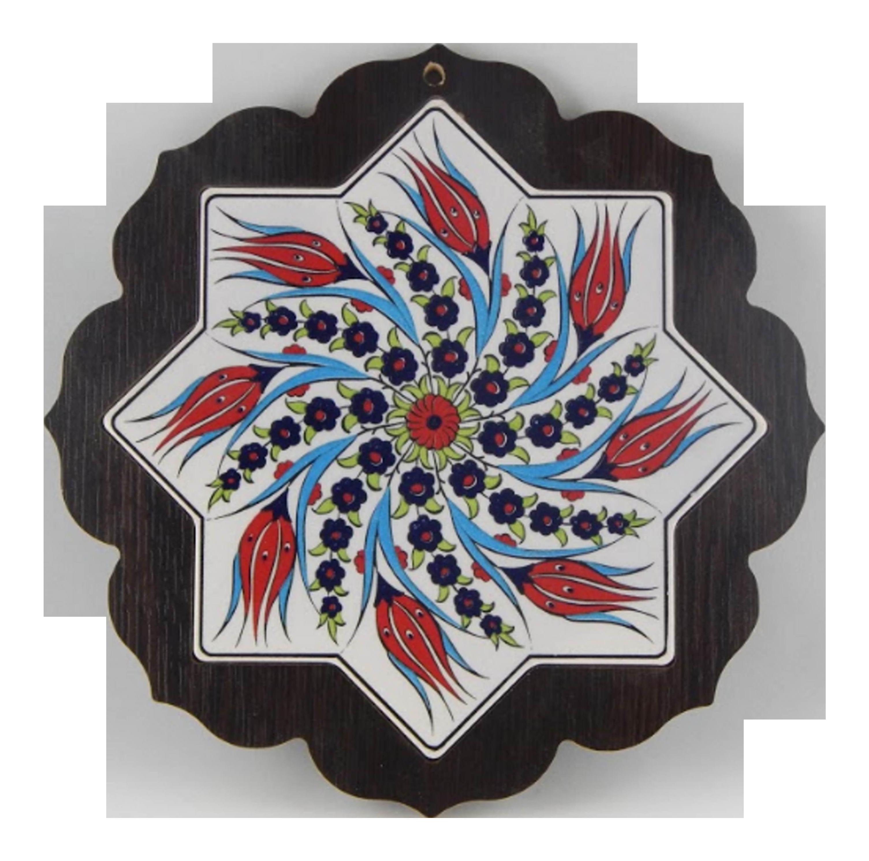 Turkish Ceramic Wall Hanging With Wooden Frame Round Hanging Decoration Chairish