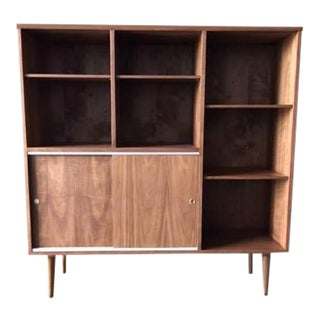 Mid-Century Style Custom Walnut Bookcase For Sale