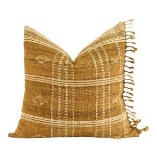 Indian Wool Blanket Mustard Pillow