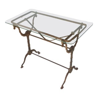 English Pub or Bistro Tables of Cast Iron with Glass Tops 'Individually Priced' For Sale