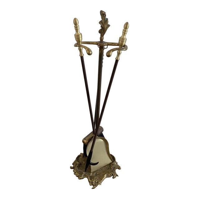 Vintage Brass Fireplace Set For Sale