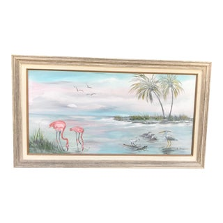 "Vintage ""Old Florida"" Style Shoreline Scene Original Painting For Sale"