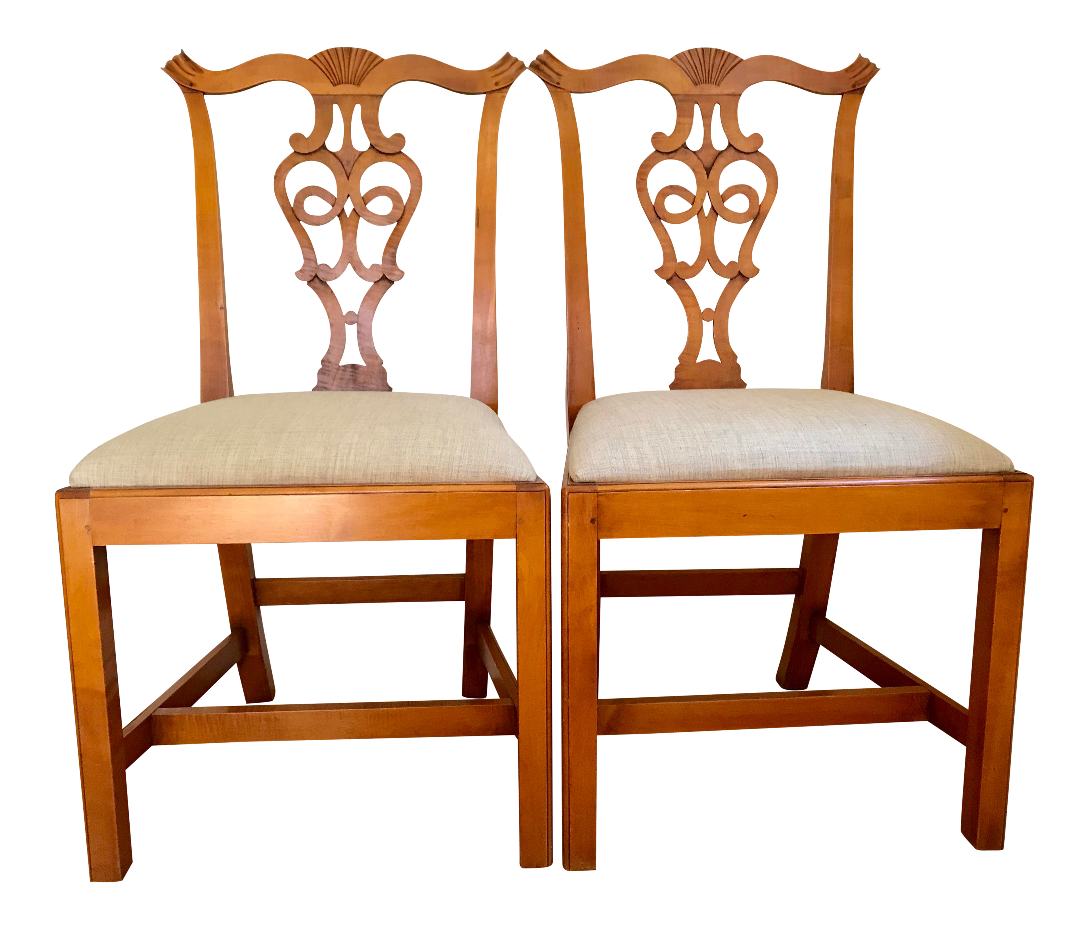 Eldred Wheeler Chippendale Side Chairs Tiger Maple   A Pair