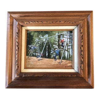 """Original Contemporary Stephen Heigh Abstract Painting """"Swing Set"""" Vintage Frame For Sale"""