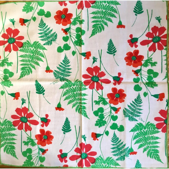 Mid 20th Century Vintage Vera Floral Cotton Napkins With Ferns- Set of Four For Sale - Image 5 of 5