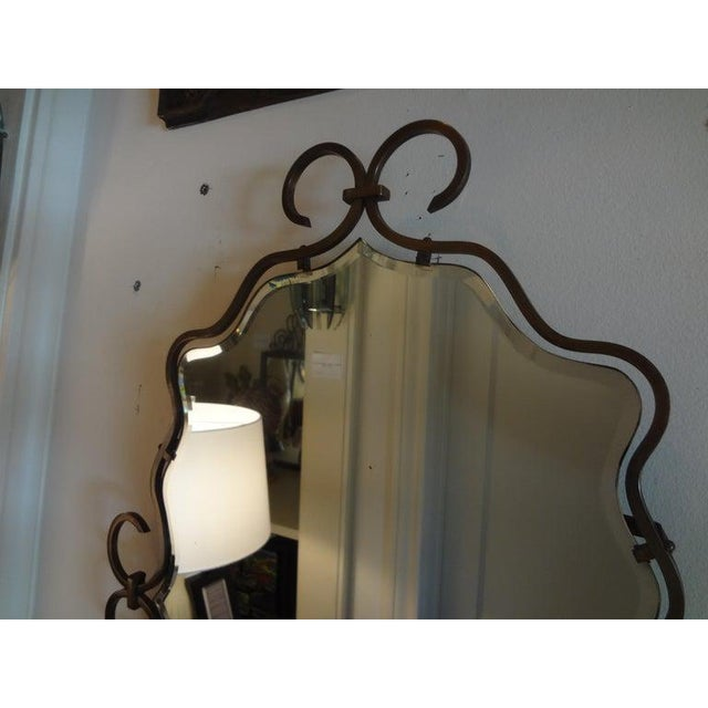 Art Deco 1940s Vintage Raymond Subes Style French Art Deco Bronze Mirror For Sale - Image 3 of 8