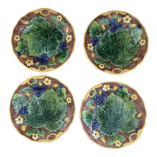 Vintage 1980s Mottahedeh Reproduction Majolica Plates- Set of 4 For Sale