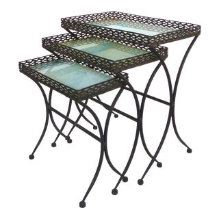 Iron Stacking Tables W/ Bird Motif Glass Tops- Set of 3 For Sale