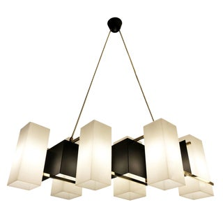 Stilux Black Lacquer and Brass Ceiling Light, Italy, 1960's For Sale