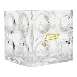 Vintage French Baccarat Crystal Bullseye Cube Ice Bucket For Sale