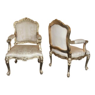 Carved Gilt Arm Chairs, a Pair For Sale