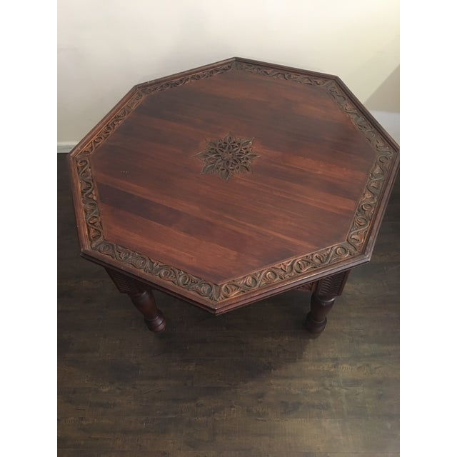 Hexagonal Carved Wood Moroccan Table - Image 6 of 9