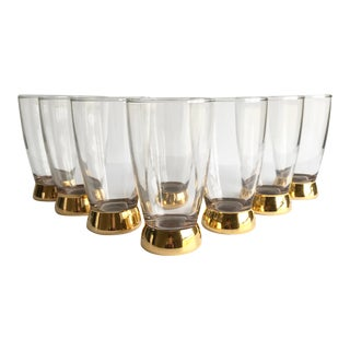 Mid-Century Gold Glasses, Set of 8