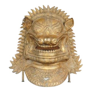 Late 19th Century Vintage Balinese Gilt-Bronze Mask For Sale