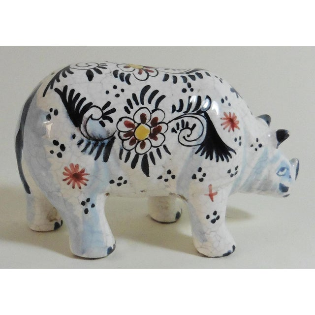 Circa 1910 French Faience Rhinoceros Figure For Sale - Image 4 of 5