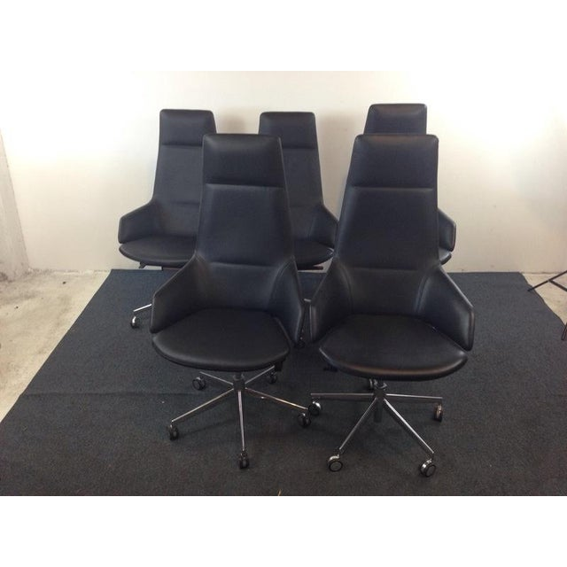 Jean-Marie Massaud Leather Upholstered 'Aston' Style Office Chairs - Set of 5 - Image 3 of 5