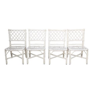 Vintage White Rattan Dining Chairs - Set of 4