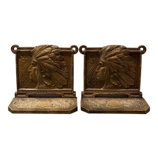 Judd Bronze Native American Indian Bookends - a Pair For Sale