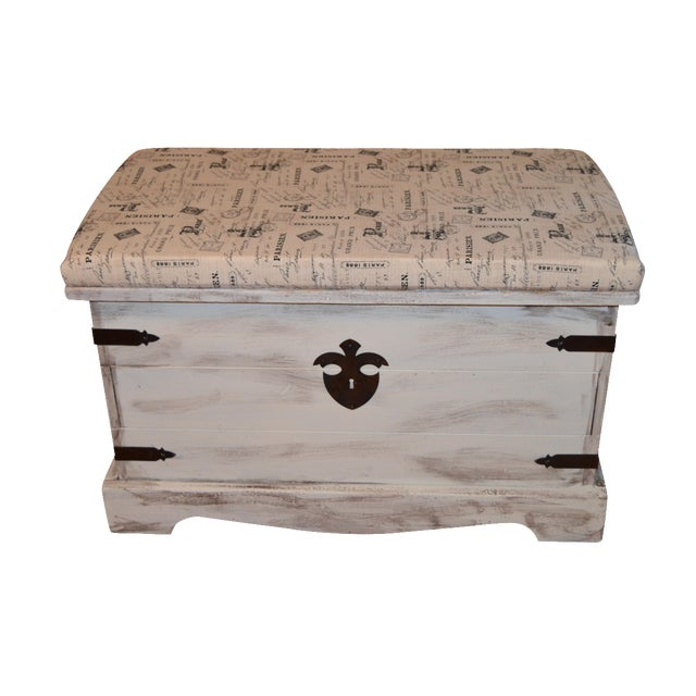Shabby Chic Style Paris Bench/Trunk - Image 1 of 3