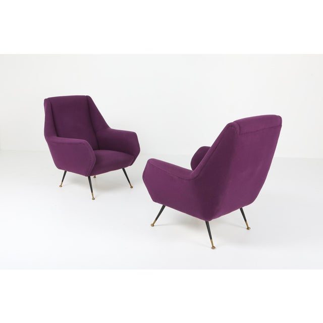 Purple 1950s Ico Parisi Easy Chairs With Purple Upholstery - a Pair For Sale - Image 8 of 12