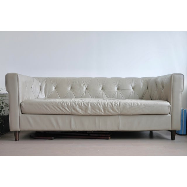 West Elm Chester Tufted Leather Sofa - Image 2 of 4