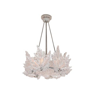 Champs Elysees Leaf Form Lalique Chandelier For Sale