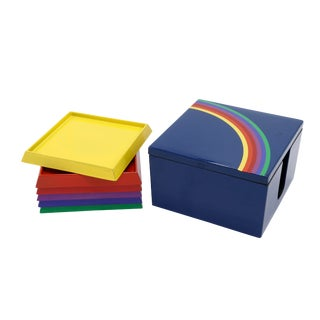 Japanese Rainbow Coasters - Set of 6 For Sale