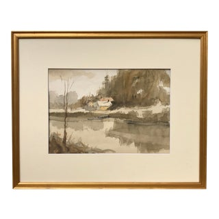 Vintage American Impressionist Watercolor Landscape by Harry Barton For Sale