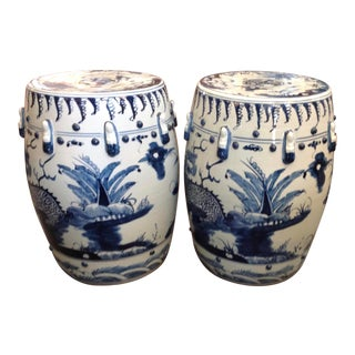 Unusual Pair of Blue and White Garden Seats For Sale
